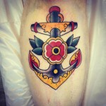 Flower Anchor Old School tattoo by Three Kings Tattoo