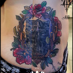 Flower Frame Two Cats tattoo by Agat Artemji