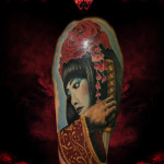 Flower Head Geisha Realistic tattoo by Hellyeah Tattoos