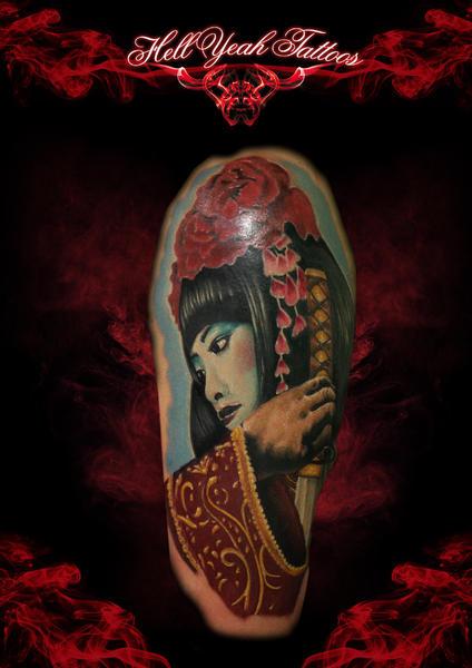 Flower Head Geisha Realistic tattoo by Hellyeah Tattoos