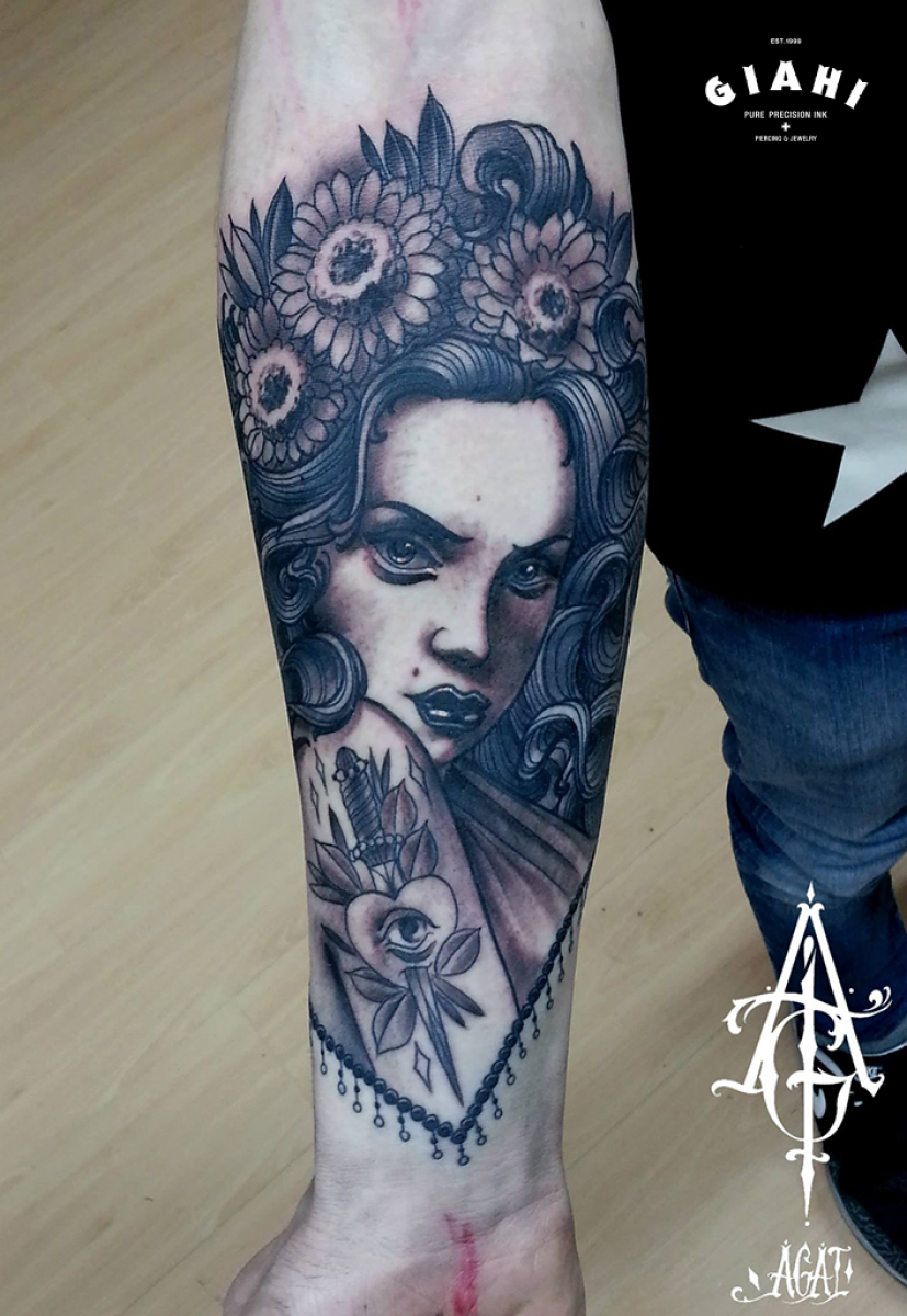 Flower Head Stabbed Heart Girl tattoo by Agat Artemji