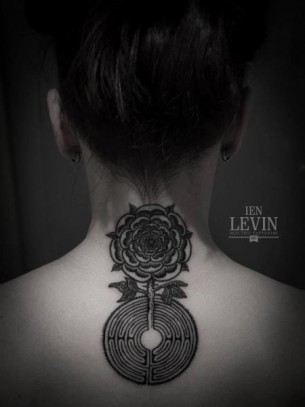 Flower Labirynth Dotwork tattoo by Ien Levin