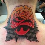 Flower Neck tattoo by Nick Baldwin