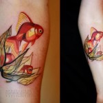 Flower Pearl Gold Fish tattoo by Sasha Unisex