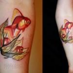 Flower Pearl Gold Fish tattoo by Sasha Unisex