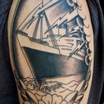 Flower frame Steamship Nautical tattoo