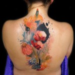 Flowers Aquarelle tattoo by Andres Acosta