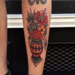Flowers in Vase tattoo by Cloak And Dagger Tattoo