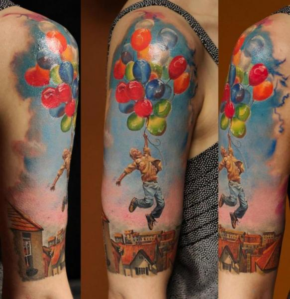 Fly Away on Balloons Realistic tattoo by Bloodlines Gallery