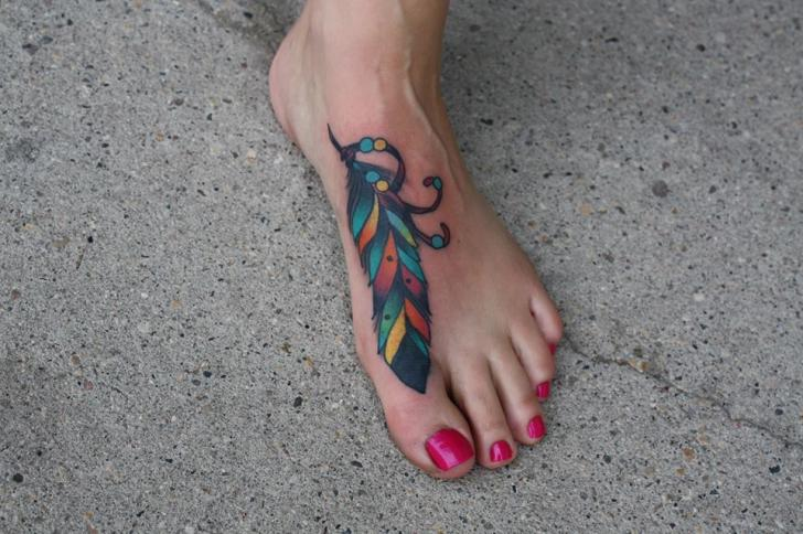 Foot Colorful Feather tattoo by Tantrix Body Art