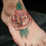 Foot Red Rose tattoo by Skin Deep Art