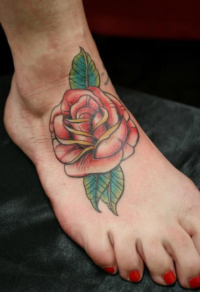 Foot Red Rose tattoo by Skin Deep Art
