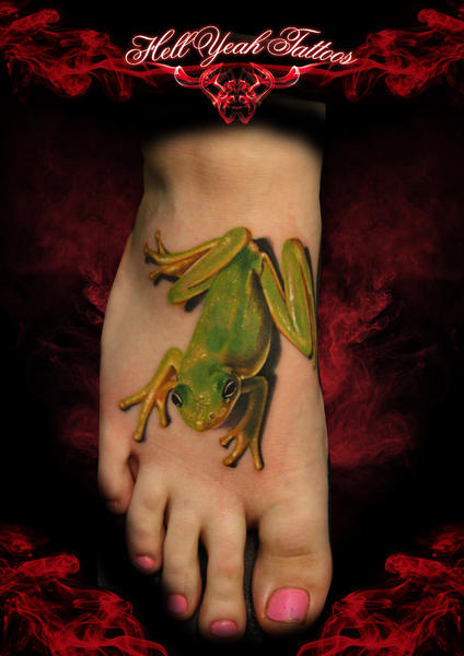 Foot Toad Realistic tattoo by Hellyeah Tattoos