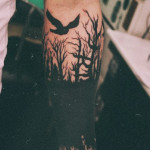 Forest Fire Crow Blackwork tattoo
