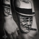 Four Eyes Cigar Man Blackwork tattoo by Ien Levin