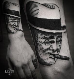 Four Eyes Cigar Man Blackwork tattoo by Ien Levin