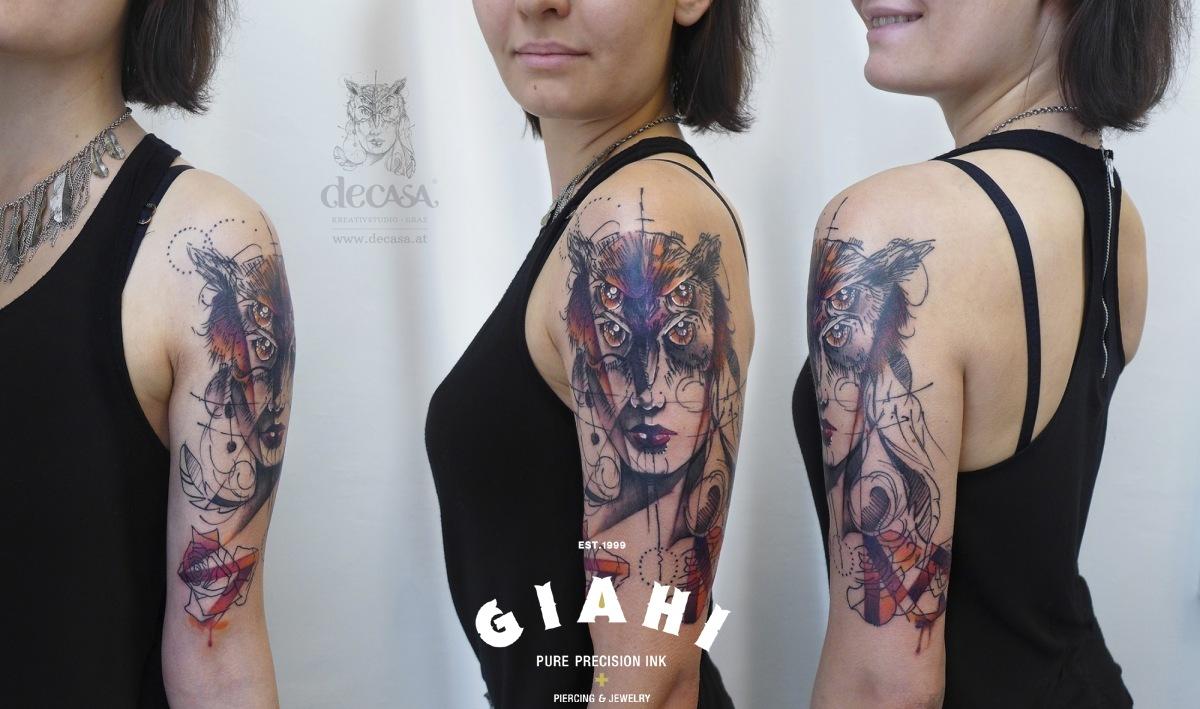 Four Eyes Owl Girl tattoo by Carola  Deutsch