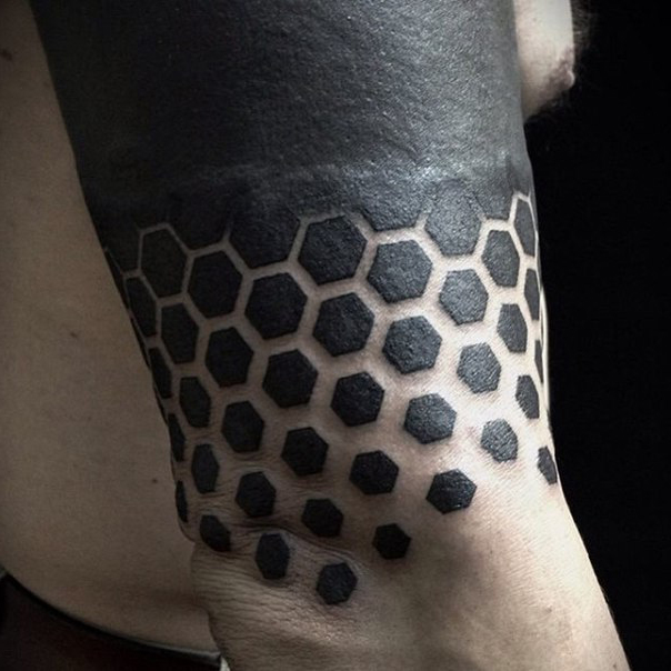 From Smaller to Bigger Hexahedrons Blackwork tattoo