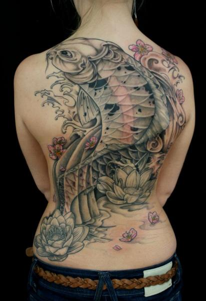 Full Back Carp Japanese tattoo by Skin Deep Art