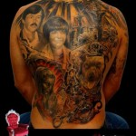 Full Back Dog and Family Chicano tattoo by Piranha Tattoo Supplies
