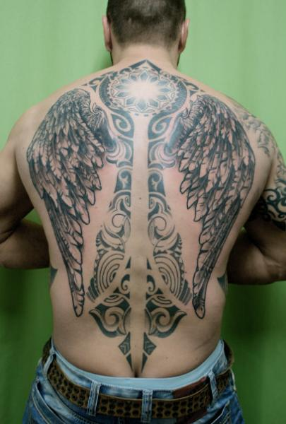 Full back mandala tribal wings tattoo by skin deep art for How deep is a tattoo