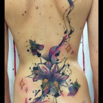 Full Back Night Aquarelle Flower tattoo by Live Two
