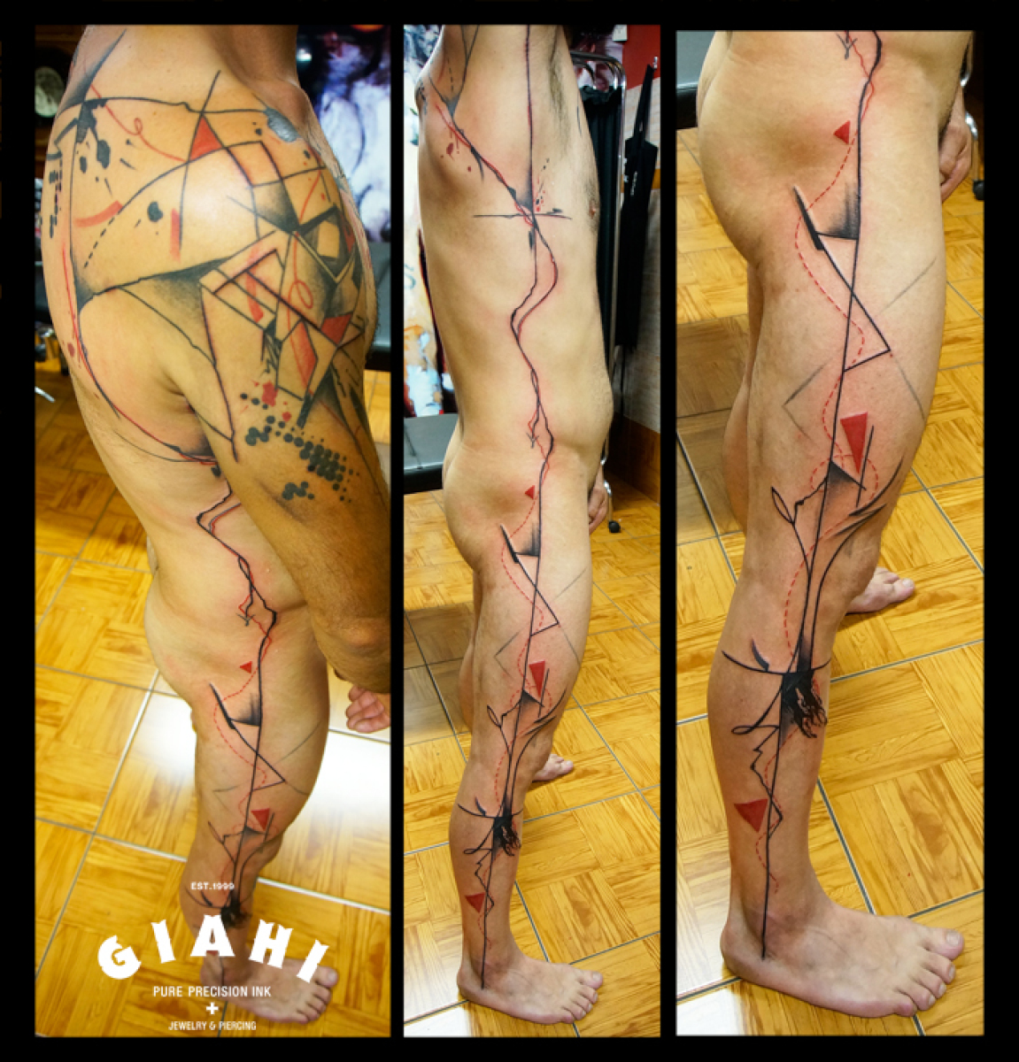 Full Body Abstract Lines tattoo by Live Two