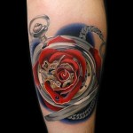 Fusion Pocketwatch Rose tattoo by Andres Acosta