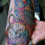 Future Owl New School tattoo by Illsynapse