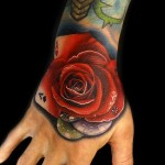 Gambling Poker Rose tattoo by Andres Acosta