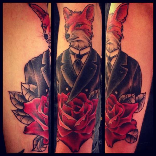 Gentleman Fox tattoo by Sarah B Bolen