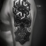 Geometry Abstraction Skull Dotwork tattoo by Ien Levin
