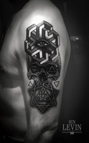 Geometry Abstraction Scull Dotwork tattoo by Ien Levin