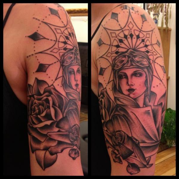 Girl Aviator tattoo by Sarah B Bolen