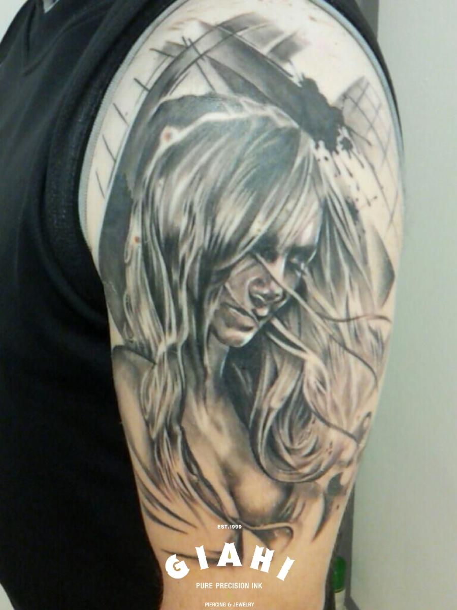 Girl In Wind Graphic tattoo on Shoulder by Goran Petrovic