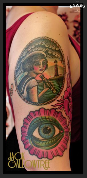 Girl Near Sea Nautical tattoo by Jack Gallowtree