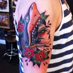 Girl Shark Bite Nautical tattoo