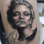 Girl With Cigarette Realistic tattoo by Georgi Kodzhabashev
