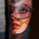 Girl in Mask Realistic tattoo by Laura Juan