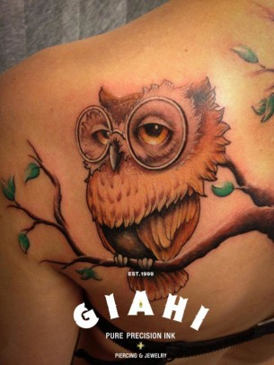 Glasses owl tattoo by Roony