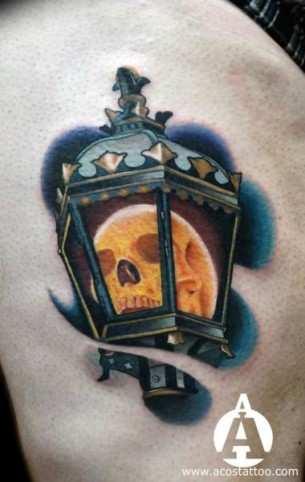 Glowing Skull Lantern tattoo by Andres Acosta