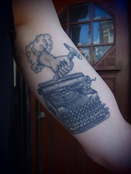 God Typing Hammer Typing Machine tattoo by Papanatos Tattoos