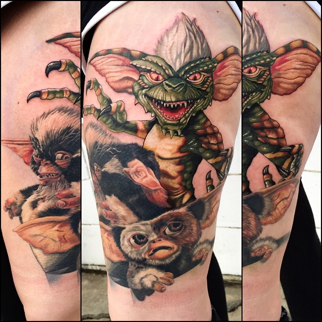Good and Bad Gremlins tattoo by Tony Sklepic
