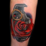 Grenade Rose 3D tattoo by Andres Acosta