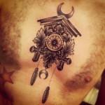 Graphic Moon Clock tattoo by Sarah B Bolen