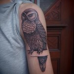 Graphic Owl on a Brunch tattoo by Papanatos Tattoos