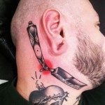 Graphic Razor Neck tattoo by Sarah B Bolen