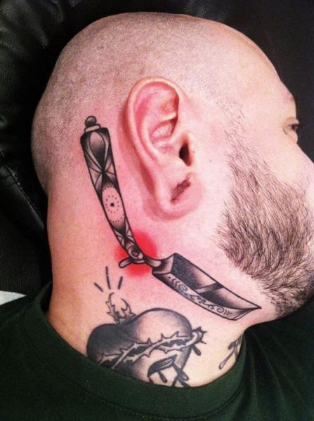 Graphic Razor Neck tattoo by Sarah B Bolen