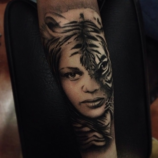 Graphic Real Half Tiger Woman tattoo by Alex Bruz