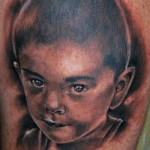 Graphic Realistic Kid Portrait tattoo by Szilard